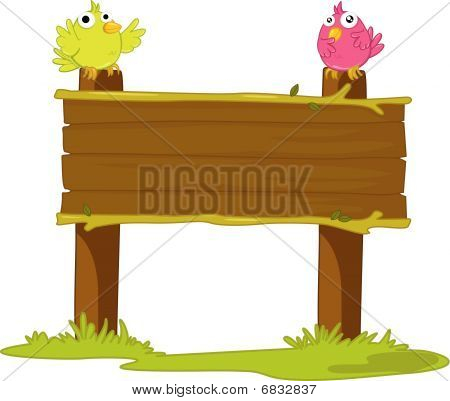 illustration of wooden board on white background poster