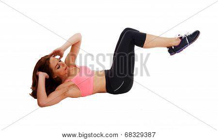 Woman Doing Stomach Crunch.