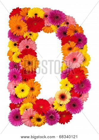Letter D - Flower Alphabet Isolated On White