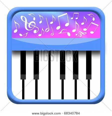 Piano keys with musical notes