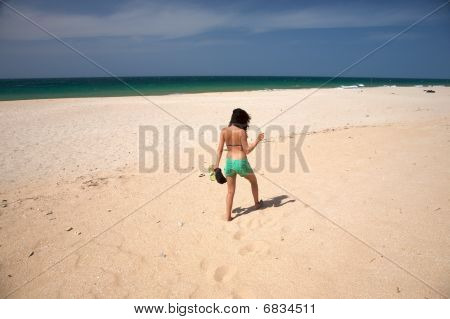 Woman At Lonely Beach