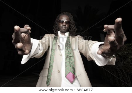 Man showing a gang sign