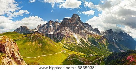 Italian Dolomiti -  Panoramic View Of High Mountains