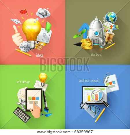 Business concepts 3d vector icons
