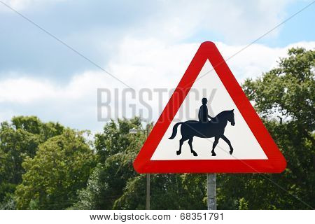Road Sign Informs Of The Presence Of Horse Riders