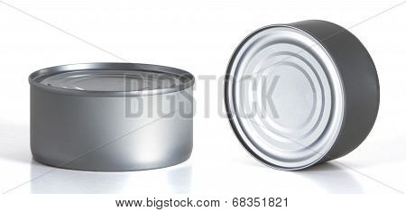 Tincan Conserve, Canned Food, Metal Tin Can  Over White Background