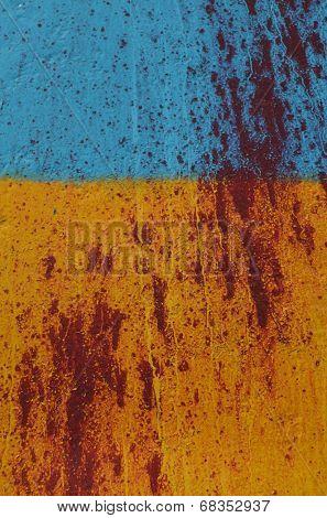 KIEV, UKRAINE - JULY 15, 2014. Ukraine flag graffiti .Civil War in Ukraine. July 15, 2014 Kiev, Ukraine