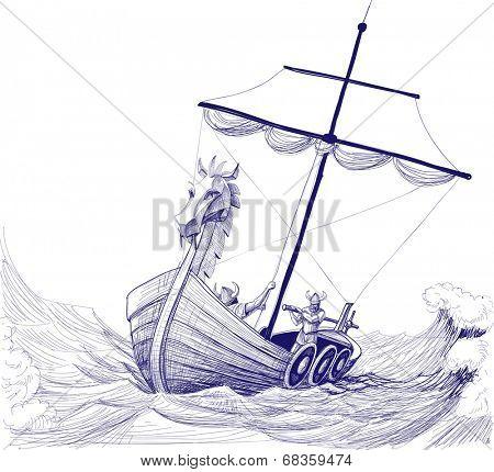 Long boat drakkar vector drawing