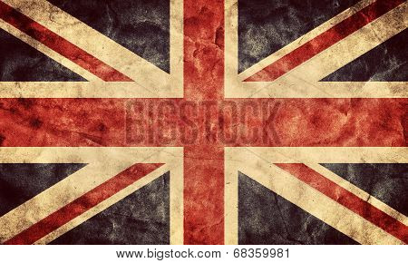 The United Kingdom or Union Jack grunge flag. Vintage, retro style. High resolution, hd quality. Item from my grunge flags collection.