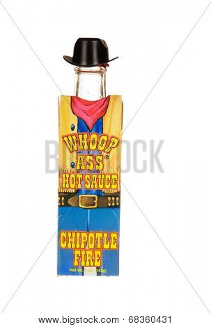 HAYWARD, CA - July 15, 2014: 5 oz Bottle of Whoop Ass hot sauce - Chipolte Fire