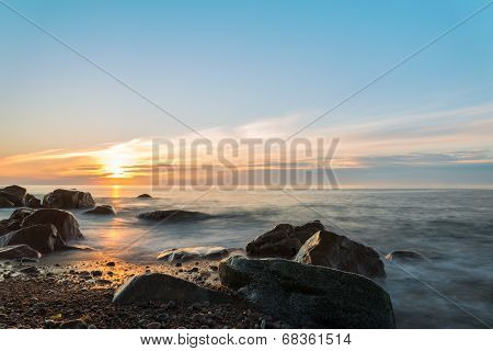 Ocean Shore At A Crack Of Dawn (slow Shutter Speed)