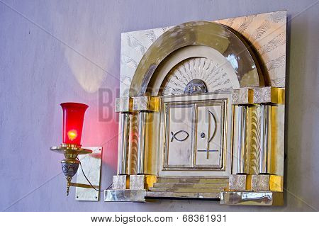 Catholic Tabernacle With Ligth Representin Presence Of God
