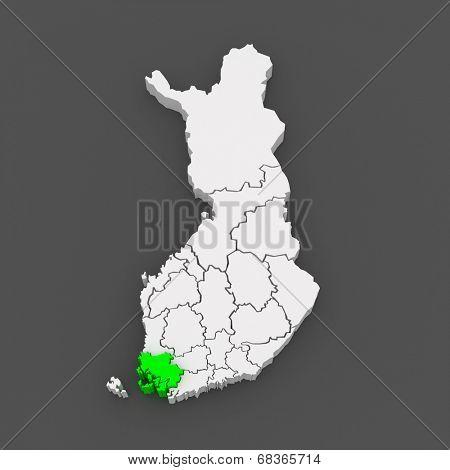 Map of Varsinais-Suomi. Finland. 3d