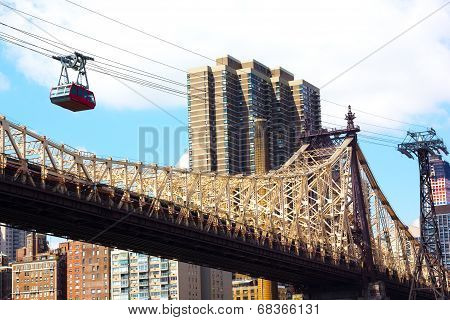 Roosevelt Island Tramway and Queensboro Bridge.