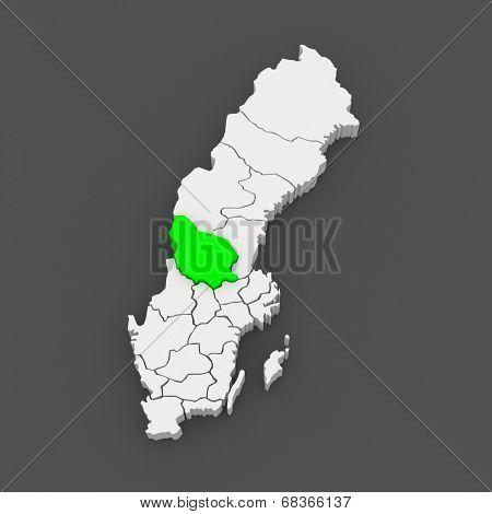 Map of Falun. Sweden. 3d