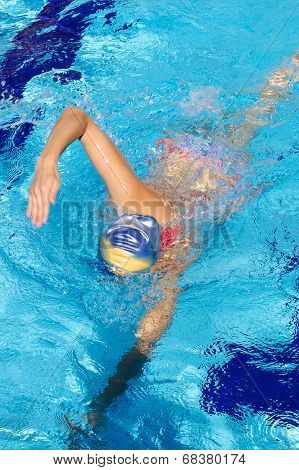 Woman Swimming With Head Underwater