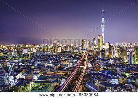 Tokyo, Japan skyline at Sumida Ward.