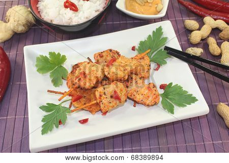 Asian Satay Skewers With Chilli And Rice
