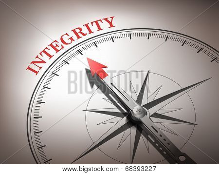 Abstract Compass Needle Pointing The Word Integrity