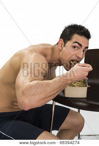 Hungry Man Gulping Down Food