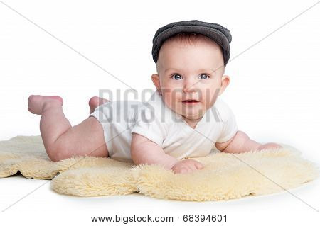 Happy Baby Wearing Flat Cap