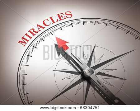 Abstract Compass Needle Pointing The Word Miracles