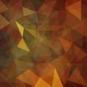 Abstract brown geometric background with triangular polygons, vector illustration poster