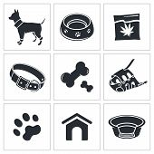 Doggy icons set on a white background poster