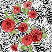 Repeating animal pattern and flowers. Seamless background poster