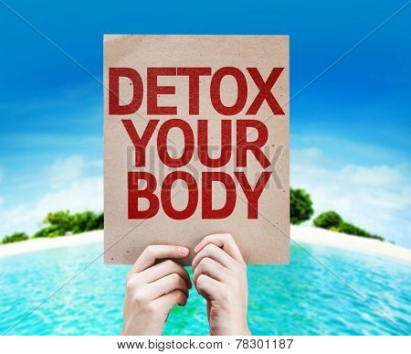 Detox Your Body card with a beach on background poster