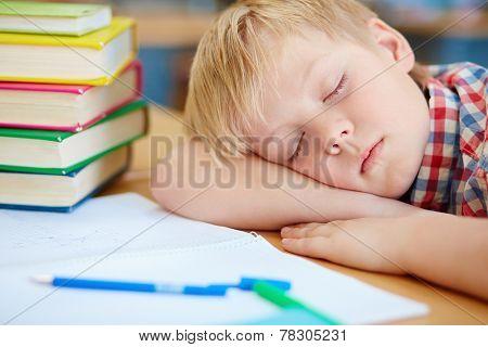 Tired little schoolboy taking nap