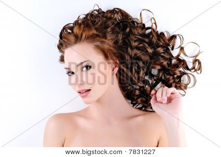 Cute Female With  Long Curly Hairs