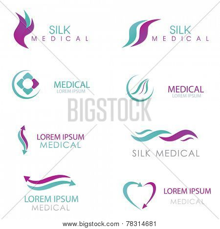 Design Elements Logos Set. Medicine logo. Arrows, hearts and abstract symbols logo for clinic, hodpital or doctor