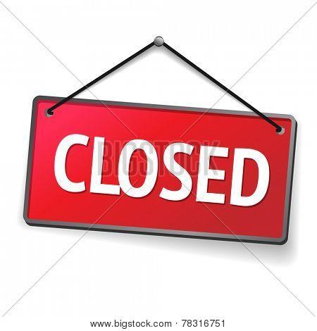 closed red door sign