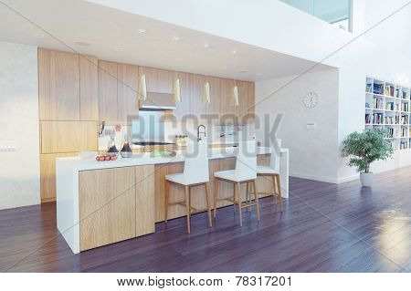modern kitchen interior with kitchen island (CG concept)