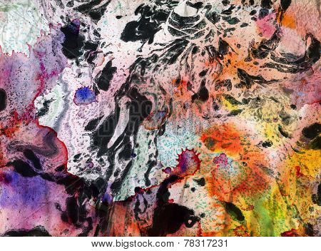 Abstract painted background - marbled ink technique