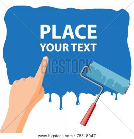 wet paint message poster - flat design vector