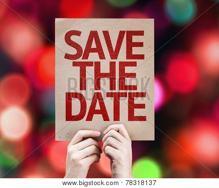 Save The Date card with colorful background with defocused lights