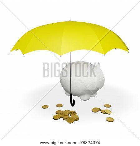 Gold Coins And Piggy Bank Under Umbrella