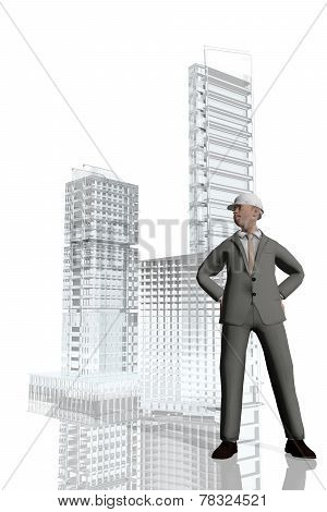 Businessman Overseeing Construction Of Buildings