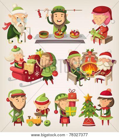 Set Of Christmas Elves