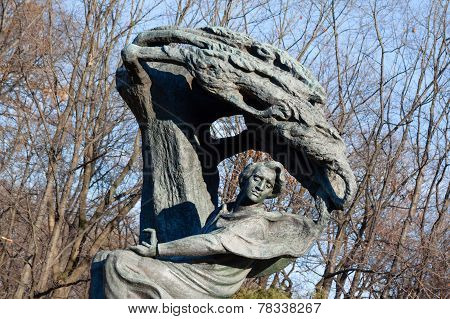Warsaw, Poland - November 14, 2010: Frederic Chopin. Statue Of Polish Famous Composer In Warsaw, Laz