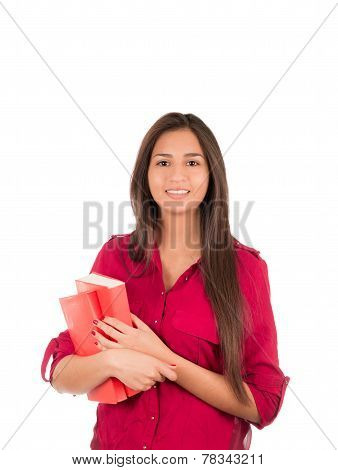 Young Latin Girl Holding Books