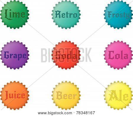 Set of 9 Bottlecaps