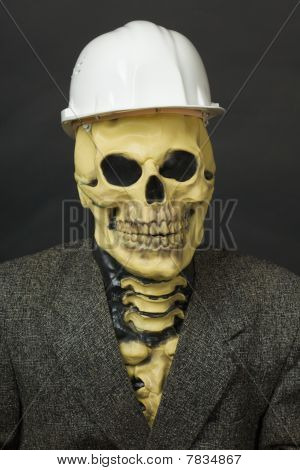Terrible dude in a mask of the skeleton with a protective helmet poster