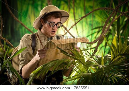 Lost Explorer With Old Map