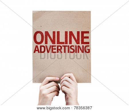 Online Advertising card isolated on white background
