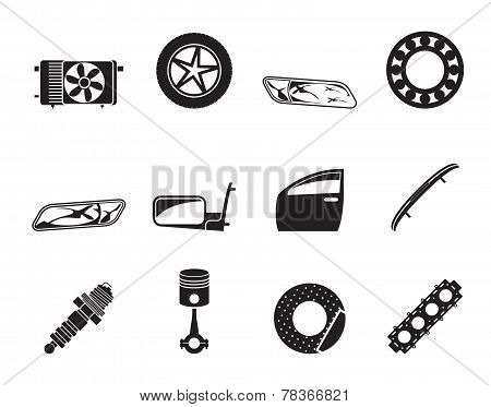 Silhouette Realistic Car Parts and Services icons - Vector Icon Set 1 poster