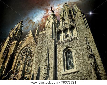 Temple Cathedral And The Cigar Galaxy (elements Of This Image Fu