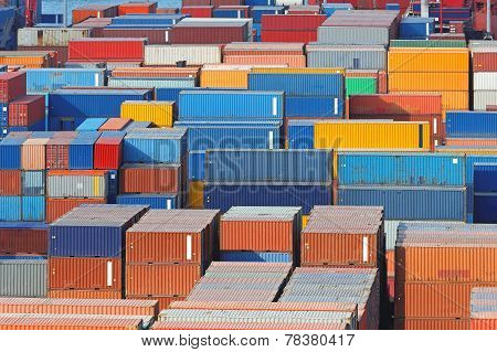 Aerial view of intermodal containers at cargo port poster